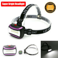 COB Led Headlight Bright Camping Headlamp AAA Battery Torch Zoomable Flashlight