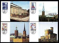 Schweden 1336/9 Maximumkarten Internationale Briefmarkenausstellung STOCKHOLMIA