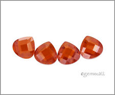6 CZ Flat Pear Briolette Beads 8x8mm Red Orange #64602