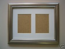 Silver wooden ACEO card double photo /picture frame 3.5 x 2.5 WHITE MOUNT