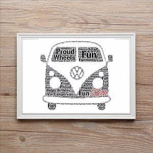 Personalised VW Camper Van Word Art Print Christmas Birthday Gift Secret Santa