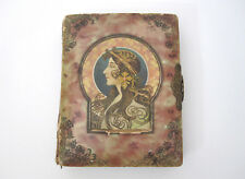 Antique Victorian Photo Album Celluloid Art Nouveau Woman Alphonse Mucha Velvet