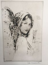 Collectible Art Paul Ashbrook Etching Woman w/Basket, Signed, Watermarked Paper