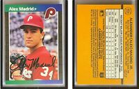 Alex Madrid Signed 1989 Donruss #604 Card Philadelphia Phillies Error Auto