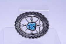 Wilson Begay Navajo Sand Cast Silver Buckle with Beautiful Turquoise Settings