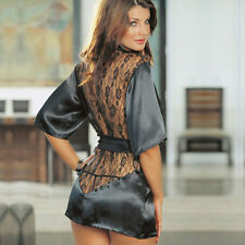 NEW BLACK ROBE SHEER SILKY SLIPPERY SOFT NYLON WITH LACE INCERT SIZE MED LARGE