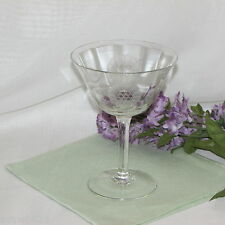 VINTAGE HUGHES CORNFLOWER COCKTAIL GLASS MARTINI CLEAR/CRYSTAL ETCHED DEPRESSION