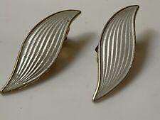 Edwardian AKSEL HOLMSEN Silver and Enamel Art Nouveau White Earrings NORWAY 1910