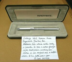 Vintage Cased Paper Mate Fountain Pen -W. German Made -Screw Plunger Refill-VGC
