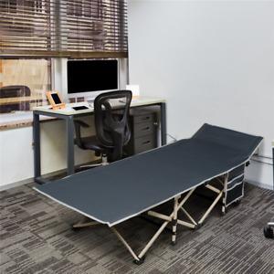 Metal Folding Camping Bed Outdoor Indoor Camping Cot w/ Side Pocket, 150kg Load