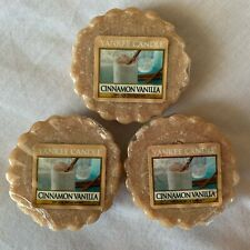 Set of 3 Yankee Candle Wax Tarts Cinnamon Vanilla Scent