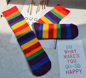 Girls Boy Kid Children Rainbow Colorful Striped warm Tube Leg Long Cotton socks