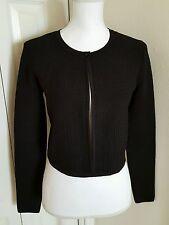 """Diane Von Furstenberg DVF """"Rochelle"""" Black Crop Cardigan Bolero Sweater Sz Small"""
