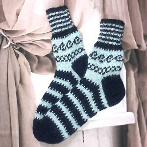 Size L7-8 Hand knitted Mohair Wool Blend Fair Isle  Folk Style Cosy Lounge Socks