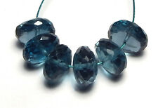 6 pcs LONDON BLUE TOPAZ 8mm Faceted Rondelle Beads AAA /L9