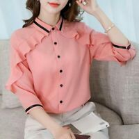 Blouse Shirt Long Sleeve Women T-Shirt Top Ladies Loose Fashion Chiffon Summer
