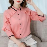 Blouse Shirt Long Sleeve Women T-Shirt Top Ladies Loose Fashion Chiffon Summer