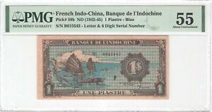 French Indochina 1 Piastre 1942 P-59b PMG 55