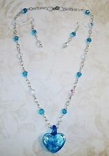 HAND MADE BLUE & CLEAR SWAROVSKI CRYSTAL NECKLACE W/GLASS HEART PENDANT/EARRINGS