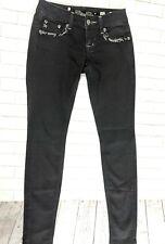 Miss Me Jeans Womens Size 25 Black Skinny Ankle Denim Bling Pockets JE5764GL