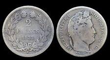 2 francs 1832T Nantes Louis Philippe I Argent/Silver Côte TB 150€ TTB 450€