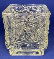 Vintage Avon clear glass square candle holder 4 inch x 3.5 inch