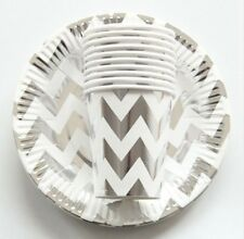 Party :  Paper Plate Cups Set Chevron  Silver Party Needs 10 pcs