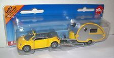 SIKU 1629 Miniature BEETLE & CARAVAN Total 15.5cm Long - Diecast & Plastic Parts