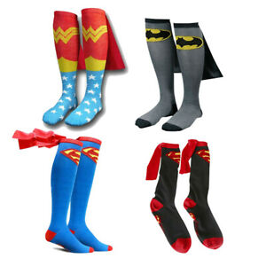 Superman Batman Wonder Woman Knee High With Cape Soccer Cosplay Socks Stockings