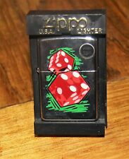 ZIPPO game Pair of Dice gambling EMBLEM LIGHTER shiny Chrome  1998 design IN BOX