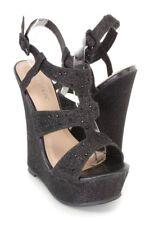 Black Rhinestone decor Wedges Open Toe high Platform Sandals Shimmer Fabric
