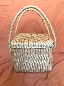 Mexican Market Mercado Basket Bag palm leaf seagrass jute straw beach picnic