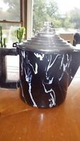RARE Black White Swirl Graniteware Coffee Pot Percolator Wood Handle Chrome Lid