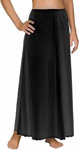Vintage NOS Rare ShadowLine Black Double Split Black Nylon Half Slip 30 long Pillow Tab Lace  26-38 waist S-M