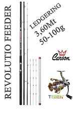 kit ledgering canna rev feeder + mulinello pesca mare orata carpa