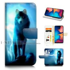 ( For Huawei P30 Lite ) Wallet Flip Case Cover AJ21379 Night Wolf