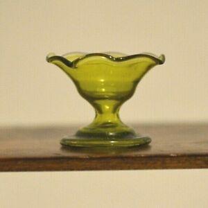 Miniature Green Glass Candy Dish Dollhouse 1:12