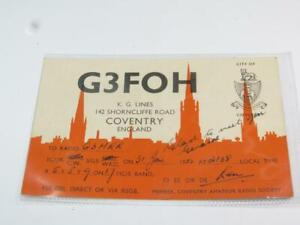 VINTAGE AMATEUR RADIO QSL CARD City of Coventry 1952