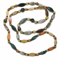 """Polished AGATE Stone Necklace 50"""" Long Chunky Multi Colored Vintage"""