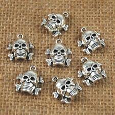 10 Tibetan Silver Metal Cross Skull Halloween Pendants Charms Bracelet Beads
