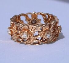 Superb Welsh 14ct Rose Gold Stuart Devlin Diamond Daffodil Eternity Ring J1/2