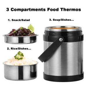 2.2L Vacuum Insulated Lunch Box 3 Tier Jar Hot Thermos Food Container Stainless