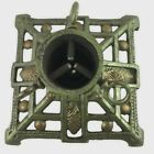 Cast Iron Christmas Tree Stand Feather Tree 5.5 In Square Pine Cone Green Gold