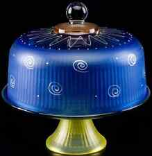 Blue Glass Cake Pie Plate & Round Dome Cover, Stand Lid Display, Convertible Set