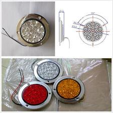 2 Pcs 12/24V White LED Round Reverse Stop Rear Tail Light Brake Turn Signal Lamp