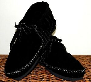 Black Suede Soft Moccasins mens low boot fringe Western Indian lace Pawnee Style