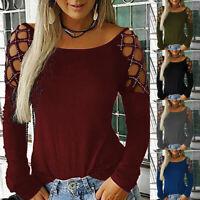 Femme Manches Longues Shirt évidés Casual Mode Couleur Unie Strass Hauts Blouse