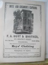 Vintage Print,BOYS+CHILDREN CLOTHES,FA.Hoyt+Bro,Phila,1856