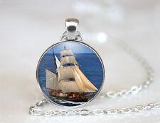 Vintage Ship Boat Tibetan silver Dome Glass Art Chain Pendant Necklace