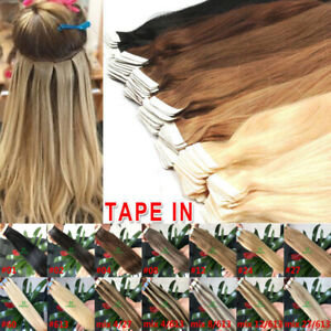16 To 30inch Seamless Tape In Skin Weft 100% Remy Human Hair Extensions 100gr
